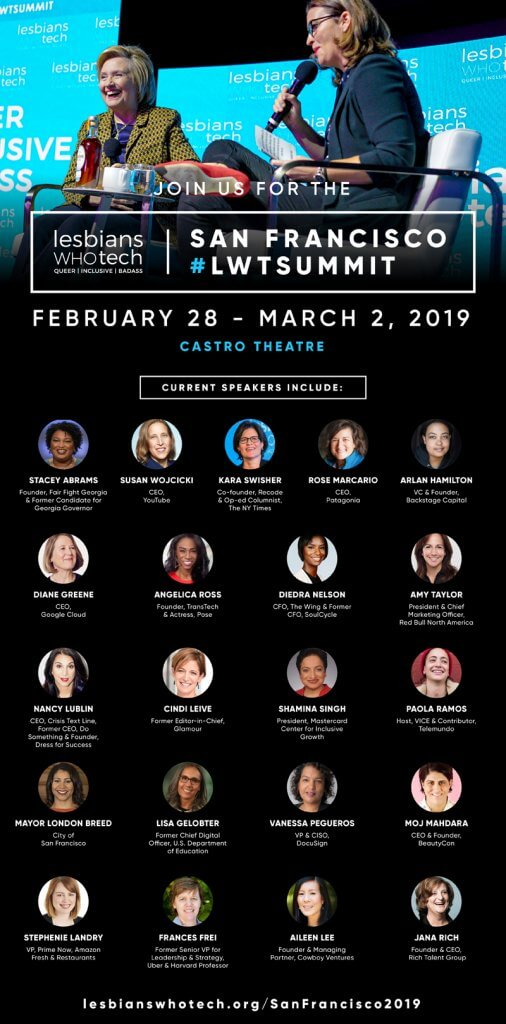 Lesbians Who Tech 2019 San Francisco Summit Graphic showing event date, teaser information, and speaker photos, names, etc.